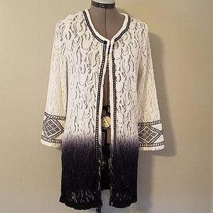 Navy and white ombre lace cardigan M